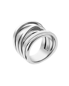 Michael Kors Large Interwoven Ring, Silver Color.