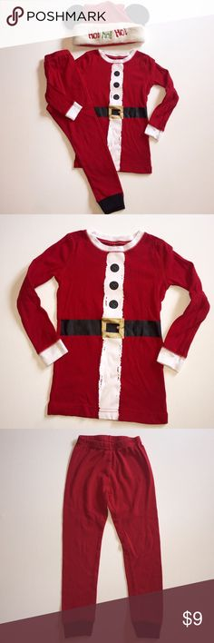 Santa Suit Pajama Set 4T Worn & washed once. 100% cotton and intended to fit snug. Not flame resistant as some pjs are. Tagged a 5T but run small in my opinion because of the slim/snug fit. Best for 4T- boy or girl. Mickey Santa hat not included. Pajamas Pajama Sets