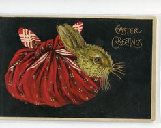 Brown Easter Bunny Rabbit in Red Napkin  by sharonfostervintage, $6.00