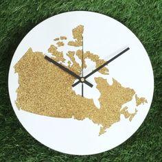"Large Wall Clock Home Decoration DIA 12"" inch - Canada Map - Clock Glitter Gold Colour : Black Clock Hands"