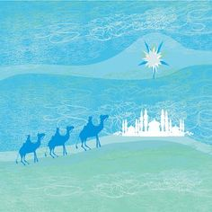 Printable Christmas Cards - 3 Kings Camels Blue Green Free Printable Christmas Cards, Religious Christmas Cards, Camels, Online Gallery, Homemade Gifts, Diy Room Decor, Free Printables, Blue Green, Holiday