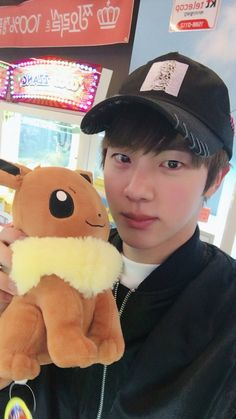 Jin ❤ [BTS Trans Tweet] 6천원으로 뽑은 이브이 / I caught Eevee for 6,000 won (Eevee is a Pokémon BTW. Seokjin is so good looking. Everyday is his day and then there's me: Today *looks in mirrior*? Hmm.. nahh Not Today) #BTS #방탄소년단