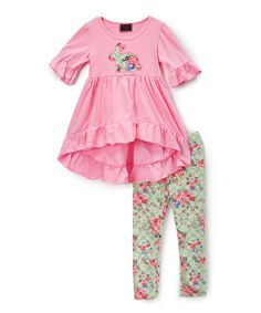 Brighten her day with this colorful set adorned with a bunny. Its soft, breathable cotton-blend fabric makes it as comfy as it is sweet.Includes top and bottoms97% cotton / 3% spandexHand wash; hang dryImported
