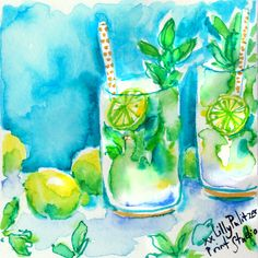Mojito Monday anyone? Lilly Pulitzer Stores, Lilly Pulitzer Prints, Lily Pulitzer, Glitter On Canvas, Love Lily, Collor, Fabric Painting, Bee Painting, Cooler Painting