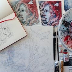 preparatory sketches for Work in progress by Kelly McKernan