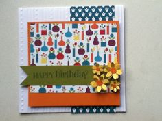 Colorful birthday flower card - stampin up