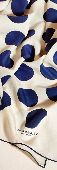 Gosh I adore Burberry.Women's silk scarf with graphic dots from the Burberry accessories collection Burberry Scarf, Burberry Bags, Burberry Prorsum, Scarf Design, Silk Scarves, Scarf Styles, Shades Of Blue, Polka Dots, Blue Dots