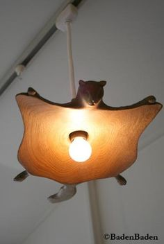 Home Decor . . . Wooden Flying Squirrel Pendant Lamp          - Artful Objects