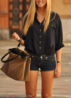 casual summer outfit with Jean shorts, hobo hand bag, and a tucked in button up top  Love this!!!