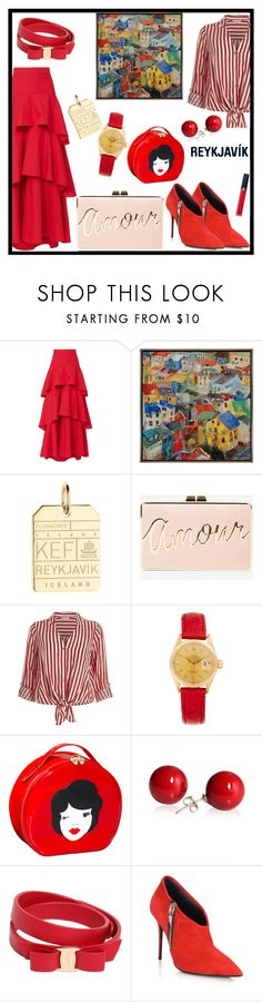 """""""Reykjavik Travel Outfits"""" by tlb0318 ❤ liked on Polyvore featuring MDS Stripes, Home Decorators Collection, Jet Set Candy, BCBGMAXAZRIA, River Island, Rolex, Salvatore Ferragamo, Giuseppe Zanotti and Armani Beauty"""