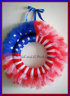 Red White & Blue American Flag tule wreath