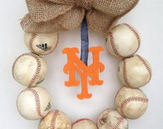 New York Mets Burlap Baseball Wreath