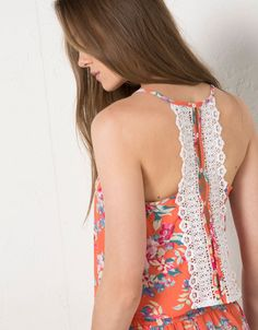 BSK floral print strappy top with crochet back - Tops & Bodysuits - Bershka United Kingdom