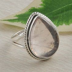 HOT 925 SOLID STERLING SILVER ROSE QUARTZ RING JEWELLERY 6.31g SIZE 8 DJR2527 #Handmade #Ring