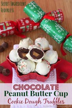 Flourless Chocolate Peanut Butter Cup Cookie Dough Truffles made with a secret ingredient!   cupcakesandkalechips.com   #candy #cookiedough ...