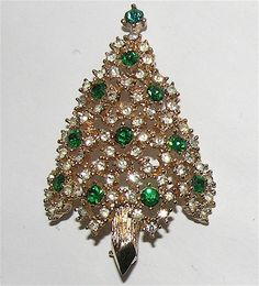 Eisenberg Signed Late 1950's Pointed Trunk Christmas Tree Pin ~ Book Piece...the trees are starting to roll into my shop again!!