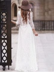 Women's Brand Fashion Lace Front Single Breasted Full-sleeve Floor-length White Maxi Dress