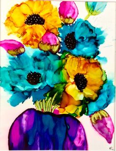 Alcohol Ink .Original abstract painting.  Anemones by KCsCornerGallery on Etsy