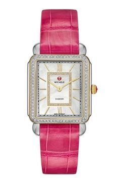 MICHELE 'Deco II' Diamond Dial Two-Tone Watch Case & 18mm Hot Pink Alligator Strap | Nordstrom