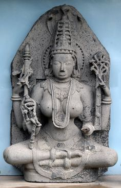 Padmavati, the Jaina goddess Stone, c.12th century A.D., Sholapur The Government Museum and Art Gallery Chandigarh, India Indian Gods, Indian Art, Ancient Goddesses, Indonesian Art, Stone Sculpture, Sculpture Art, Mother Goddess, Shiva Shakti, 12th Century