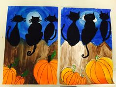My fifth graders are finishing up their paintings this week. They practiced blending in a circle for the background and we also discussed m. Halloween Art Projects, Fall Art Projects, Halloween Tricks, Halloween Crafts For Kids, Kids Crafts, 5th Grade Art, Fence Art, Art Camp, Autumn Art
