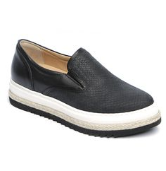 Slip-on sneaker style loafer from Laura Bellariva. A round toe, black rubber gussets inserts. Leather embossed to emulate snake skin. Stitch reinforced double white and black rubber sole with woven detail. Leather lining. Item code: 80007 Materials: leather, rubber Made in Italy