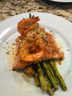 Crab stuffed Salmon topped with shrimp and lemon butter cream sauce