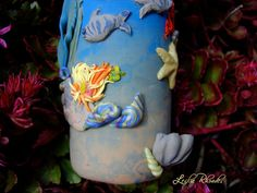 """Blub Blub Blub"" Polymer Clay Vase Art Glass Vessel by MrsHappy (Leslie Rhoades): My Polymer Clay/Glass Vase in my Etsy shop, come see! =] I Love doing custom work, please contact me! Will work for chocolate! Or money, money's good too! =] Please visit my other Etsy Shops: For Jewelry Supplies & Gems: www.etsy.com/shop/MrsHappysStuff (Come see, like, love, favorite, share.... Pretty please!)"
