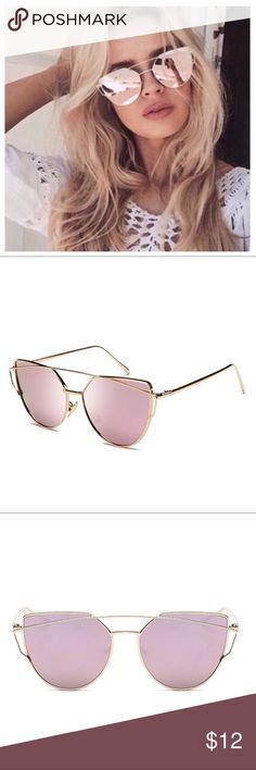 NEW PINK MIRROR POLARIZED CAT EYE SUNGLASSES New Cat Eye Natalie Pink Mirrored sunglasses. UV400 UV glare. Polarized Lenses Eliminate Glare And Reduce Eye Fatigue Polarized Triacetate Lenses Are Impact And Scratch Resistant, Lightweight And Durable