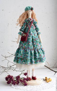 Купить Интерьерная кукла тильда Алиса, текстильная кукла - бирюзовый, тильда, тильда кукла ♡