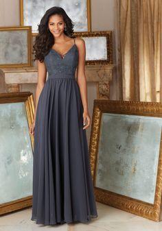 Elegant Beaded Lace and Chiffon Bridesmaid Dress Designed by Madeline Gardner