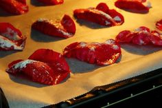 Candying flower petals and fruits refers to coating them in a sugar-based glaze and drying them in an oven. Although candied flower petals are mostly used