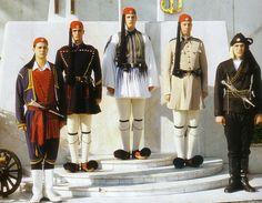 Greek Traditional Ethnic Folklore Costumes made in Hellas Greece Mykonos, Hellenic Army, Greek Traditional Dress, Traditional Clothes, Greek Dancing, Greek Independence, Greek Dress, Greek Warrior, Costumes Around The World