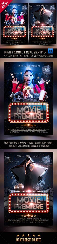 Movie Premiere & Movie Star Flyer  PSD Template • Download ➝ https://graphicriver.net/item/movie-premiere-movie-star-flyer/17165679?ref=pxcr