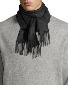 Neiman Marcus Cashmere Scarf w/ Fringe Trim, Charcoal (Grey), Men's, Size: Medium