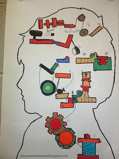 Thomas Elementary Art Rube Goldberg Silhouette Portraits ***Love this idea - save for elementary enrichment or non-CFAC project*** Classroom Art Projects, Art Classroom, Classroom Ideas, Rube Goldberg Projects, Website Instagram, Rube Goldberg Machine, 4th Grade Art, Simple Machines, Art Lessons Elementary