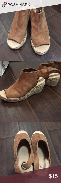 Gap open toed espadrilles wedges Gap. Size 6. Espadrilles wedges. Open toed. Brown color. Worn once. Super cute and very flattering! Excellent condition. GAP Shoes Espadrilles