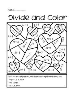 Valentine's Day Divide and Color Activity $1.50. Good review/extra practice and a great activity for next week!