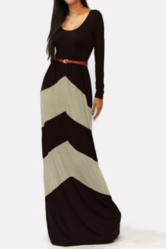 Sexy U-Neck Long Sleeve Low Cut Geometric Color Block Stripe Women's Maxi DressMaxi Dresses | RoseGal.com