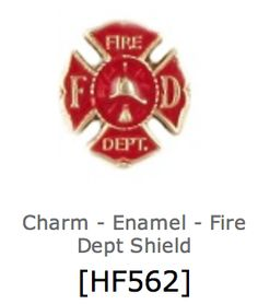Fire department shield charm for floating lockets by Our Hearts Desire $5 https://ourheartsdesire.com/lesliejenkins #fd #fireman