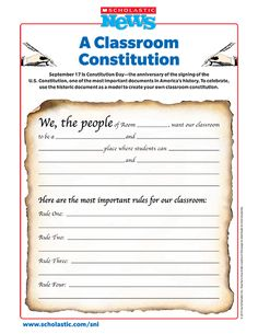 Looking for a great way to celebrate Constitution Day with your students? 7th Grade Social Studies, Social Studies Notebook, Social Studies Classroom, Social Studies Activities, Teaching Social Studies, Teaching History, History Education, Classroom Constitution, Constitution Day