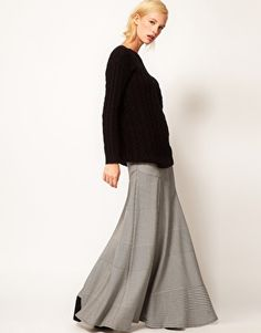 Houndstooth Maxi Skirt... oh how much greater this skirt would be in tweed... and 20x heavier. $77.61at ASOS.com
