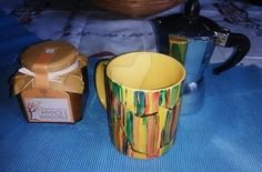 "Have breakfast in a yellow ""Klee's The clown pyramidal"" mug! Inspired to the omonimous painting by Paul Klee. Handpainted on ceramic."