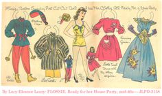 """""""Flossie: House Party,"""" a paper doll by Lucy Eleanor Leary, Boston Sunday Post, 1940-1950s / eBay"""
