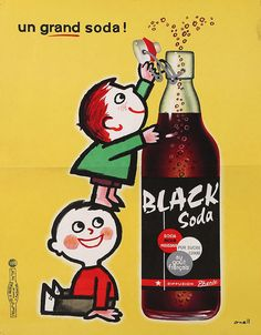 Black Soda advertising poster (France, 1955) www.stores.eBay.com/GrapefruitMoonGallery