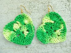Granny square heart handmade hook crocheted  earring Mother's Day idea by JacqstarCreations on Etsy