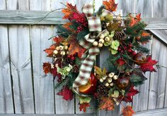 This is 4 Season wreath, beautiful any time of year! Perfect to hang now, and for every season after. Abundant in, pumpkin, hydrangea,