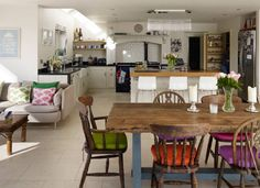 Although this is not the style you want, it's quite a nice example of layout of a multi-use space.