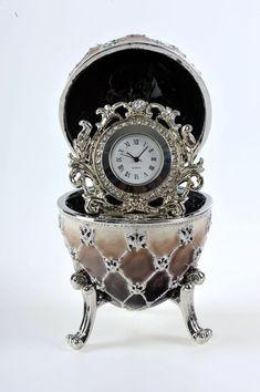 Brown Faberge Egg with a Quartz Clock Handmade by por KerenKopal