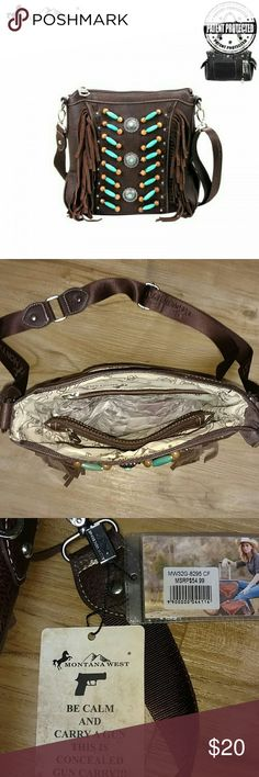 """NWT Montana West Concealed Carry Messenger Bag ◽Made of PU leather ◽A zippered pocket on the back to conceal the handgun (5.5 x 5) ◽A single compartment divided by a medium zippered pocket. ◽A zipper enclosure for the entire purse. ◽A smaller zippered pocket on the inside back and 2 open pockets on the inside front. ◽An open pocket on the back. ◽4 studs on the bottom ◽Single, adjustable, removable, nylon strap with """"Montana West"""" embroidered through out. ◽10 x 3 x 9 (23 strap)  **NOTE…"""